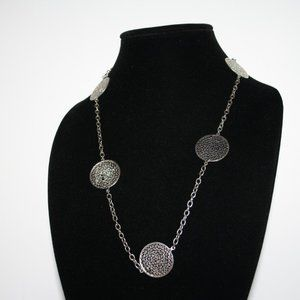 Vintagejelyfish Jewelry - Long silver medallion chain necklace 34""